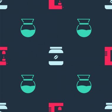Set Coffee machine, jar bottle and Pour over coffee maker on seamless pattern. Vector. icon