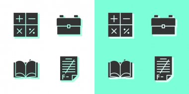 Set Exam paper with incorrect answers, Calculator, Open book and School backpack icon. Vector. icon
