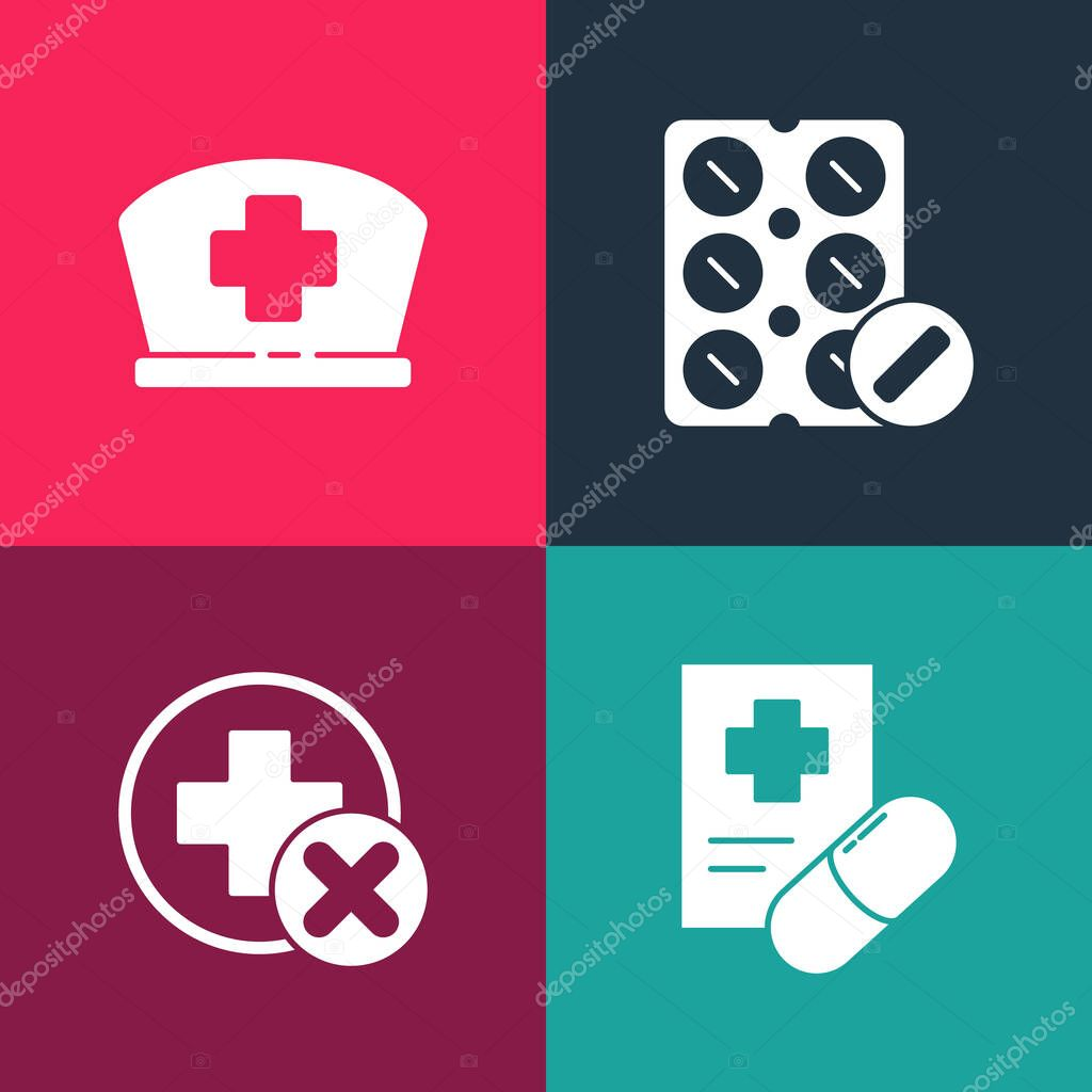 Set pop art Medical prescription  Cross hospital medical  Pills in blister pack and Nurse hat with cross icon icon