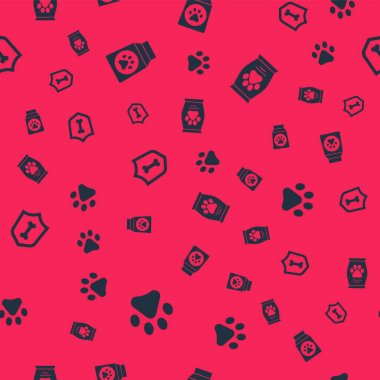 Set Paw print, Bag of food, Animal health insurance and  on seamless pattern. Vector. icon