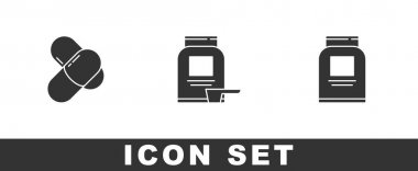Set Sports nutrition,  and  icon. Vector. icon