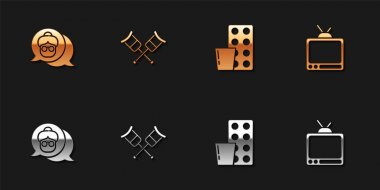 Set Grandmother, Crutch or crutches, Pills in blister pack and Retro tv icon. Vector. icon