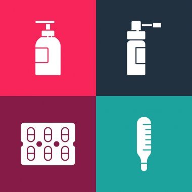 Set pop art Medical thermometer, Pills in blister pack, Bottle with nozzle spray and Hand sanitizer bottle icon. Vector. icon