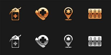 Set Cross hospital medical tag, Emergency phone call to, Map pointer with cross and Pills blister pack icon. Vector. icon