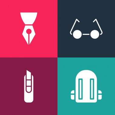 Set pop art School backpack, Stationery knife, Glasses and Fountain pen nib icon. Vector. icon