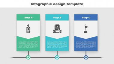 Set Identification badge, Hiking backpack and Location marker. Business infographic template. Vector. icon