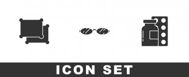 Set Pillow, Eyeglasses and Pills in blister pack icon. Vector. icon