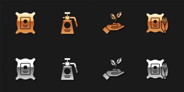 Set Pack full of seeds of plant, Garden sprayer for fertilizer, Plant in hand environmental and Corn the sack icon. Vector. icon