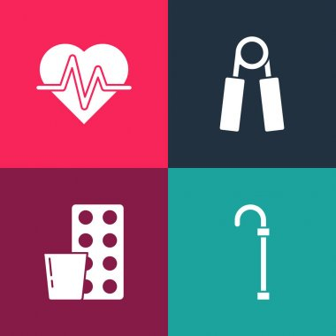 Set pop art Walking stick cane, Pills blister pack, Sport expander and Heart rate icon. Vector. icon