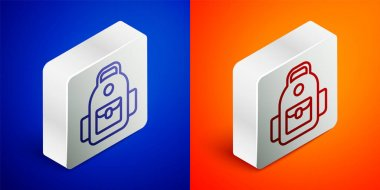 Isometric line School backpack icon isolated on blue and orange background. Silver square button. Vector. icon