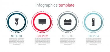 Set Fountain pen nib, Computer monitor screen, School backpack and Ruler. Business infographic template. Vector. icon