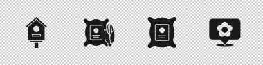 Set Bird house, Corn in the sack, Pack full of seeds of plant and Location with flower icon. Vector. icon