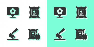 Set Apple in the sack, Location with flower, Wooden axe and Pack full of seeds of plant icon. Vector. icon