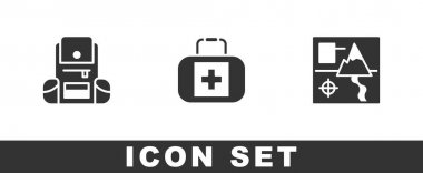 Set Hiking backpack, First aid kit and Folded map icon. Vector. icon