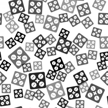 Black Pills in blister pack icon isolated seamless pattern on white background. Medical drug package for tablet, vitamin, antibiotic, aspirin. Vector. icon