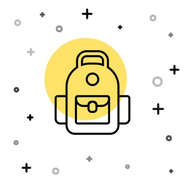 Black line School backpack icon isolated on white background. Random dynamic shapes. Vector. icon