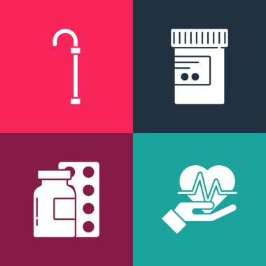 Set pop art Heart rate, Pills in blister pack, Medicine bottle and pills and Walking stick cane icon. Vector. icon