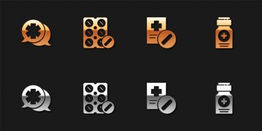 Set Dialogue with the doctor, Pills in blister pack, Medical prescription and Medicine bottle icon. Vector. icon