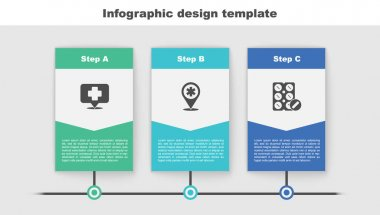 Set Map pointer with cross hospital,  and Pills blister pack. Business infographic template. Vector. icon