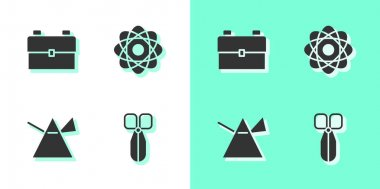 Set Scissors, School backpack, Light rays in prism and Atom icon. Vector. icon