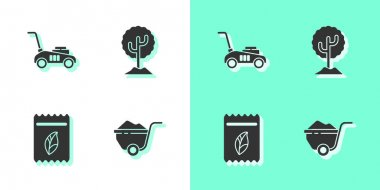 Set Wheelbarrow with dirt, Lawn mower, Pack full of seeds of plant and Tree icon. Vector. icon