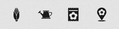 Set Corn, Watering can, Pack full of seeds of plant and Location with flower icon. Vector. icon