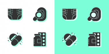 Set Pills in blister pack, Adult diaper, Medicine pill or tablet and Hearing aid icon. Vector. icon