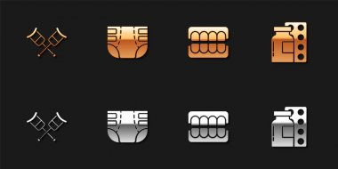Set Crutch or crutches, Adult diaper, False jaw and Pills in blister pack icon. Vector. icon