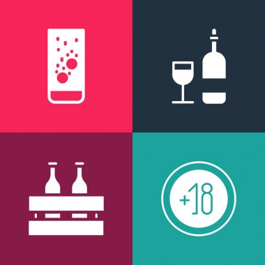 Set pop art Alcohol 18 plus, Pack of beer bottles, Wine with glass and Effervescent tablets water icon. Vector. icon