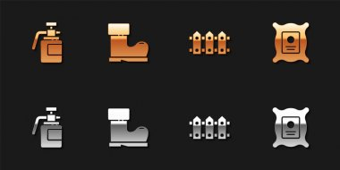 Set Garden sprayer for fertilizer, Waterproof rubber boot, fence wooden and Pack full seeds plant icon. Vector. icon