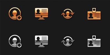 Set Create account screen, Monitor with resume, Human resources and Identification badge icon. Vector.