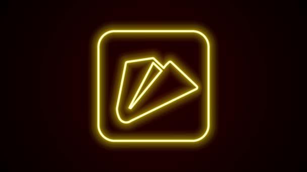 Leuchtende Leuchtschrift Papier Flugzeug Symbol isoliert auf schwarzem Hintergrund. 4K Video Motion Grafik Animation