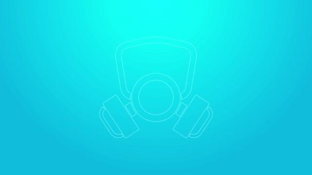 Rosa Linie Gasmaskensymbol isoliert auf blauem Hintergrund. Atemschutzzeichen. 4K Video Motion Grafik Animation