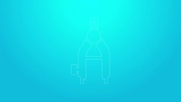 Rózsaszín vonal Rajzoló iránytű ikon elszigetelt kék alapon. Compass jel. Rajzoló és oktatási eszközök. Geometrikus műszer. 4K Videó mozgás grafikus animáció