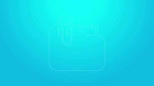 Růžová čára Složka s papírovým klipem ikona izolované na modrém pozadí. Symbol účetního pořadače. Vedení účetnictví. Grafická animace pohybu videa 4K