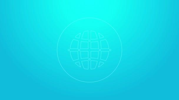 Pinkfarbene Linie Globale Technologie oder Symbol für soziale Netzwerke auf blauem Hintergrund. 4K Video Motion Grafik Animation