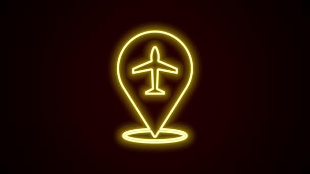 Világító neon vonal Plane ikon elszigetelt fekete háttérrel. Repülő repülő ikon. Repülőgép jel. 4K Videó mozgás grafikus animáció