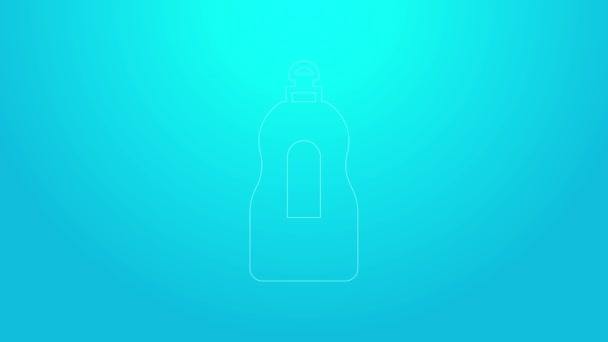 Růžová čára Mytí nádobí tekutá láhev ikona izolované na modrém pozadí. Tekutý prací prášek na mytí nádobí. Grafická animace pohybu videa 4K