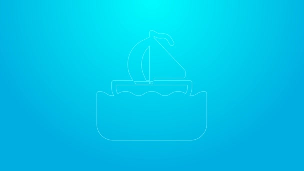 Pink line Yacht sailboat or sailing ship icon isolated on blue background. Sail boat marine cruise travel. 4K Video motion graphic animation