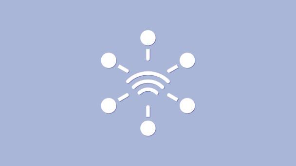 Weißes Netzwerksymbol isoliert auf violettem Hintergrund. Globale Netzwerkverbindung. Globale Technologie oder soziales Netzwerk. Punkte und Linien verbinden. 4K Video Motion Grafik Animation