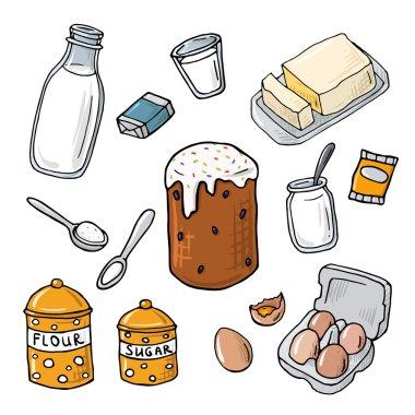 Easter cake ingredient. Homemade baking