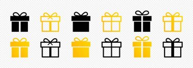 Gift box icon set. New Year, Christmas. Birthday concept. Surprise present. Vector EPS 10 icon