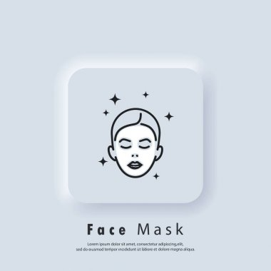 Face mask sheet icon. Skin care concept. Beauty skin logo. Vector EPS 10. UI icon. Neumorphic UI UX white user interface web button. Neumorphism icon