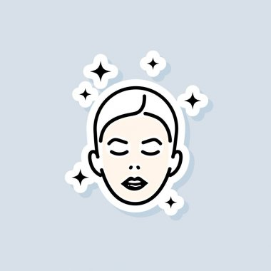 Face mask sheet sticker. Skin care concept. Beauty skin logo. Vector on isolated white background. EPS 10. icon