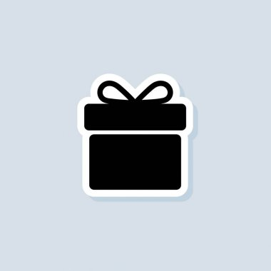 Gift sticker. Gift box icon. Present for anniversary, birthday, christmas, new year. Vector on isolated background. EPS 10. icon