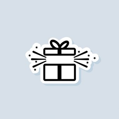 Gift box sticker. Party and celebration concept. Giftbox icon. Surprise and birthday items, gift, present, ribbon. Vector on isolated background. EPS 10. icon
