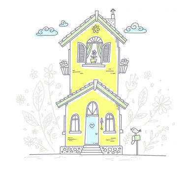 Vector illustration of cute two storey cottage with mailbox and