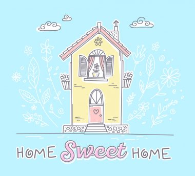 Vector illustration of cute two storey cottage with flowers and