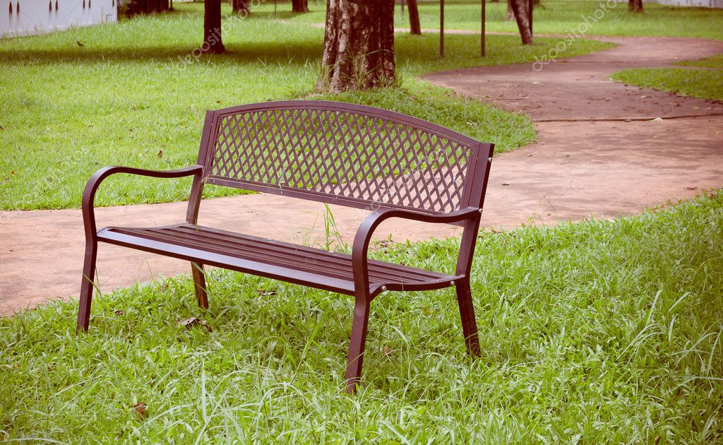 Brilliant Wooden Park Bench At The Public Park Image Stock Photo Caraccident5 Cool Chair Designs And Ideas Caraccident5Info