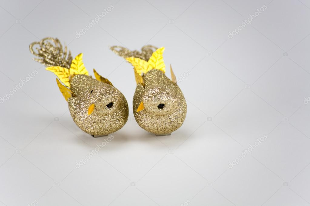 golden bird christmas ornaments decorations stock photo